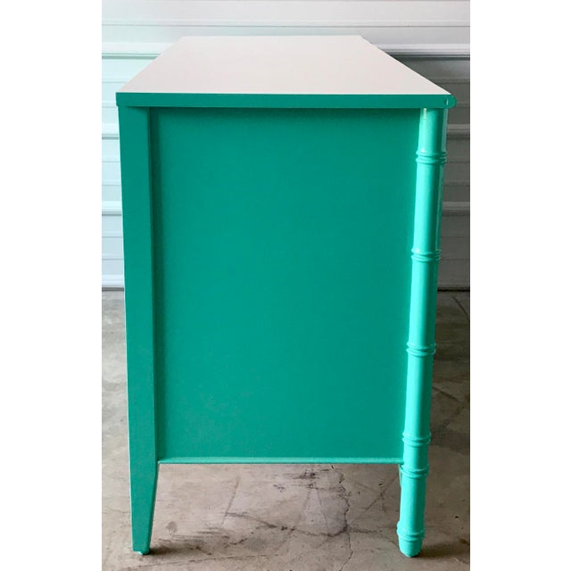 1960s Vintage Custom Colored Turquoise Bamboo Dressers - a Pair For Sale - Image 5 of 6