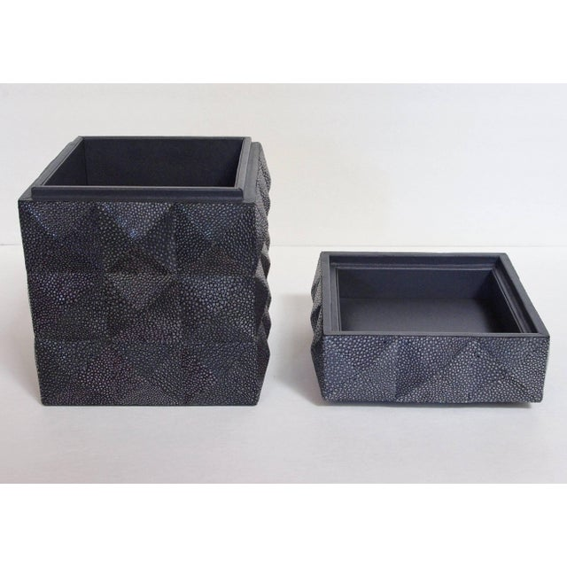 Pyramid Black Shagreen Box by Fabio Ltd For Sale In Palm Springs - Image 6 of 8