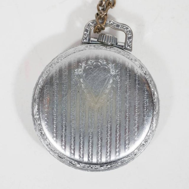 Antique Waltham Chronometer Pocket Watch with Foliate Engravings and Brass Chain For Sale - Image 10 of 11