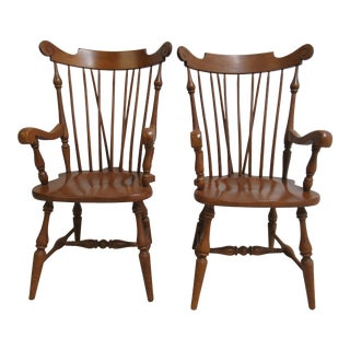 Ethan Allen Heirloom Windsor Maple Dining Room Arm Chairs - a Pair For Sale