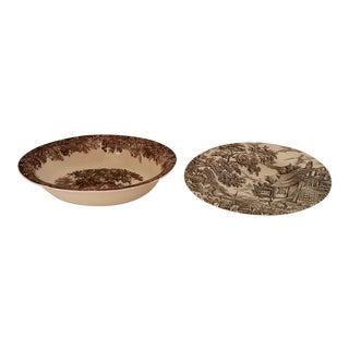 "1980s Vintage J&g Meakin "" Sulgrave Manor"" Porcelain Plate & Vintage ""The Hunter"" Porcelain Plate by Myott - a Pair For Sale"
