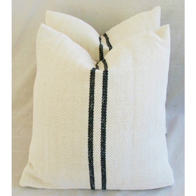 French Grain Sack Down & Feather Pillows - Pair - Image 2 of 10