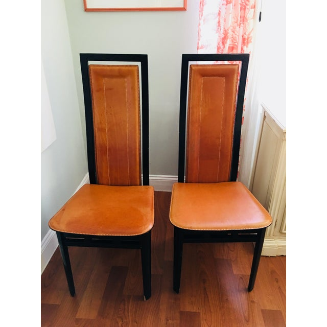2000s Art Deco Inspired Roche Bubois Leather and Lacquer Dining Chairs - a Pair For Sale - Image 5 of 11