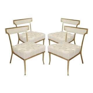 """White and Brass Chairs by William """"Billy"""" Haines - Set of 4 For Sale"""