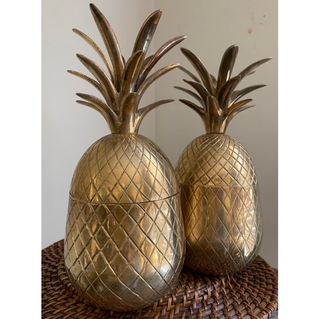 1960s Vintage Solid Brass Lidded Pineapple Containers - A Pair For Sale - Image 10 of 10