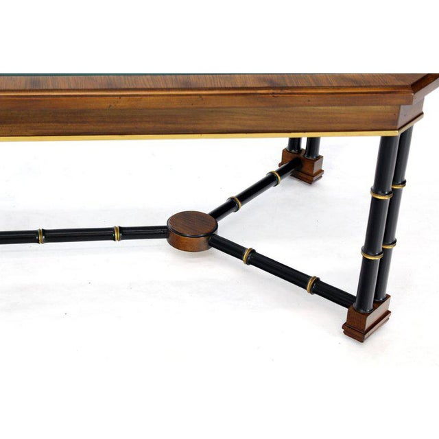 Brown Rosewood Black Lacquer Rectangular Faux Bamboo Coffee Table Beveled Glass Top For Sale - Image 8 of 11
