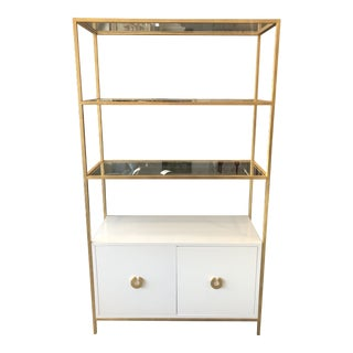 Worlds Away Wyeth White Lacquer Cabinet With Gold Leaf Frame & Glass Shelves For Sale