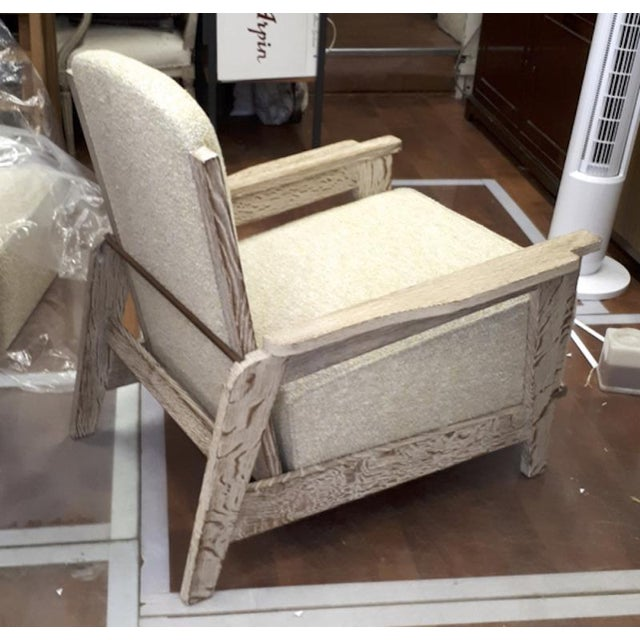 Mid-Century Modern Style of Prouve Cerused Oak Lounge Chairs With Reclining Back For Sale - Image 3 of 7