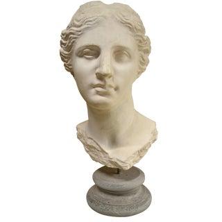 Contemporary Sculpture - Greek Goddess on Round Stone Pedestal For Sale