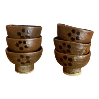 Japanese Hand Made Earthenware Bowls/Teacups - Set of 6 For Sale