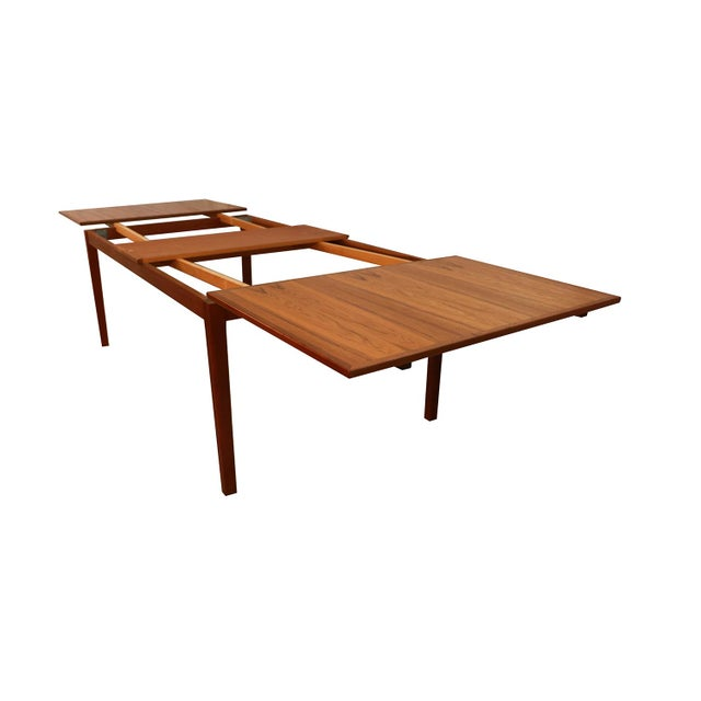Teak Danish Teak Extra Large Expanding Dining Table With 2 Leaves For Sale - Image 7 of 9