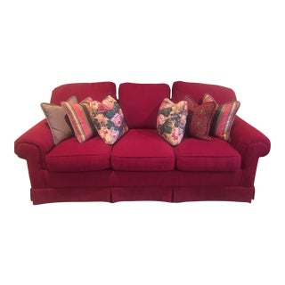 Traditional Red 3 Seater Sofa