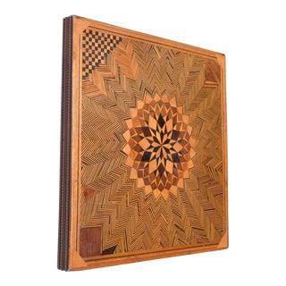 Optical Illusion Art Modern Geometric Wood Panel 1960s Mid Century Op Art For Sale