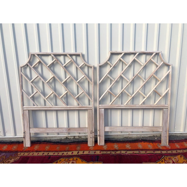 Mid 20th Century Vintage Bamboo Rattan Chinese Chippendale Twin Headboards - a Pair For Sale - Image 5 of 8