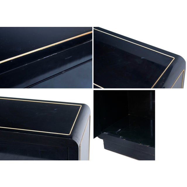 Mastercraft Console Cabinet in Black Lacquer and Brass For Sale - Image 10 of 13