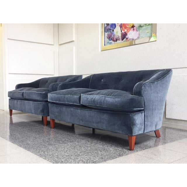 Blue 1930s Tufted Art Deco Settees Reupholstered in Brushed Velvet - a Pair For Sale - Image 8 of 10