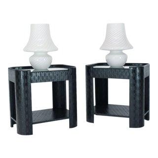 Pair of Large Vetri Swirl Milk Murano Glass Mushroom Lamps For Sale