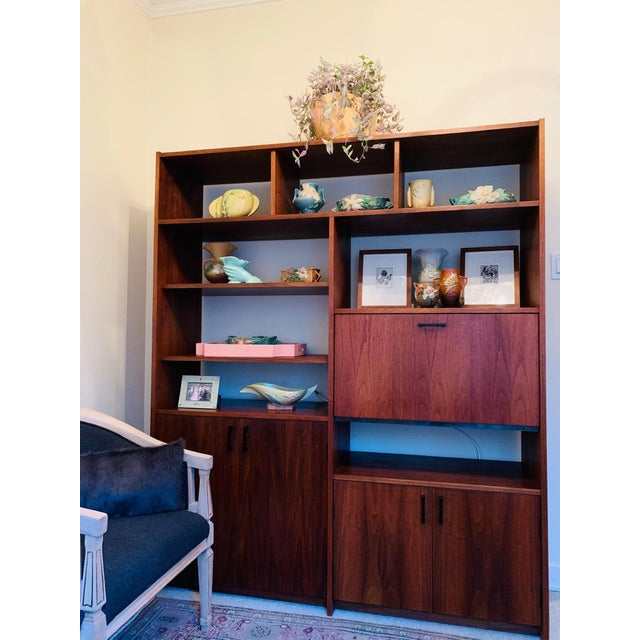 Brown Mid-Century Walnut Shelving Unit with Desk For Sale - Image 8 of 9