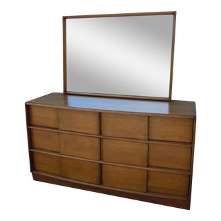 Heywood-Wakefield Sculptura 6-Drawer Dresser & Mirror