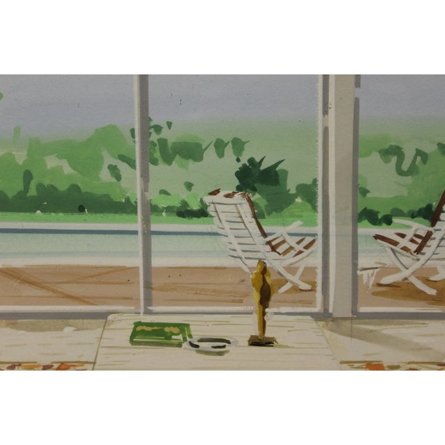 Fab/ retro c1960s tropical-inspired living room interior watercolor w/ an inviting pool beckoning just outside!