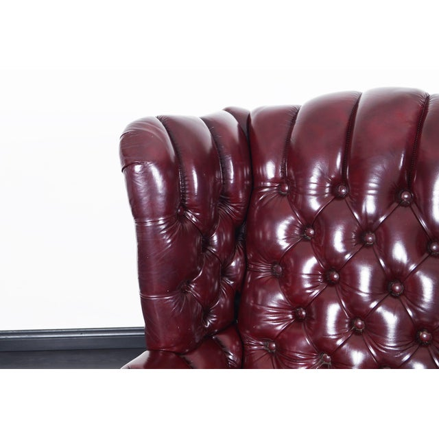 Red Vintage Leather Tufted Wingback Chairs For Sale - Image 8 of 9