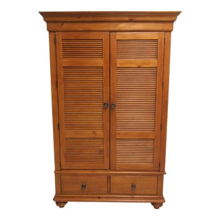 Stanley Honey Pine Wardrobe Armoire Louvered Cabinet Linen Press For Sale