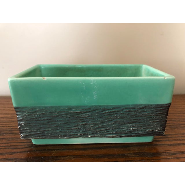 Green Final Markdown! Vintage Mid-Century Aborn H-1 California Green and Gray Pottery Planter For Sale - Image 8 of 8