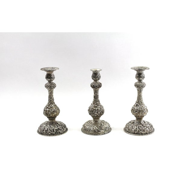 1900s Sterling Repousse Candlesticks - Set of 3 - Image 2 of 6