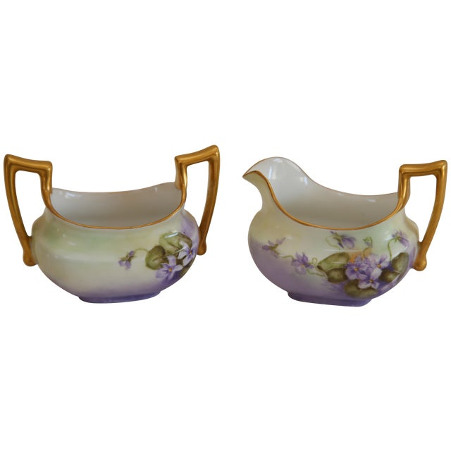 Limoges Hand-Painted Sugar & Creamer - Image 1 of 5
