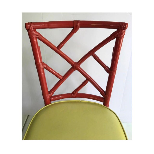 1970s Mid-Century Modern Chinese Chippendale Dia Bamboo Red Side Chairs - Set of 4 For Sale - Image 5 of 7