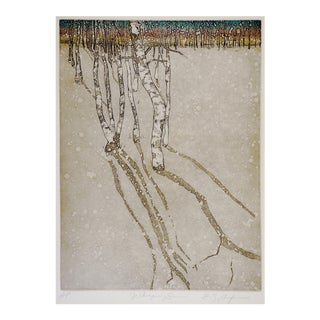 Birch Trees Reflection Etching For Sale