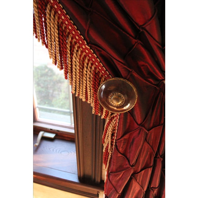 Victorian Style Drapes in Burgundy - A Pair - Image 4 of 10