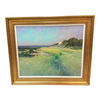 1980s Welfleet Cape Cod Cottage by the Sea Painting For Sale