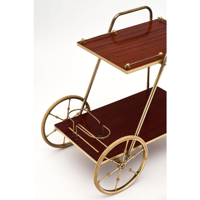 Art Deco French Art Deco Period Rosewood and Brass Bar Cart For Sale - Image 3 of 10