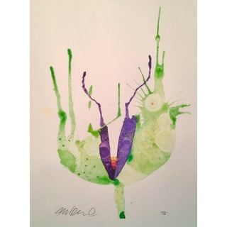 Contemporary Rainbow Botanical Watercolor Painting For Sale