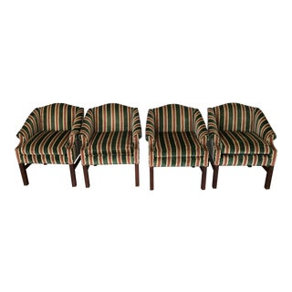 Harden Chippendale Style Striped Velvet Chairs - Set of 4 For Sale