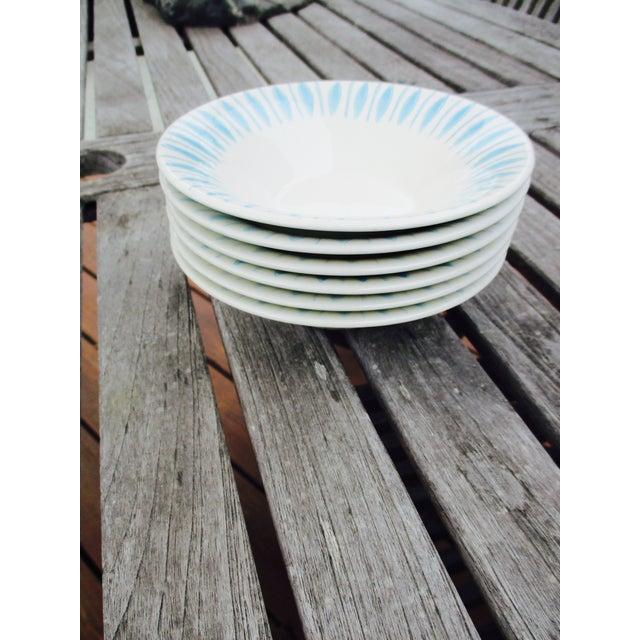 Vintage 1950s Turquoise Starburst Bowls - Set of 6 - Image 4 of 5