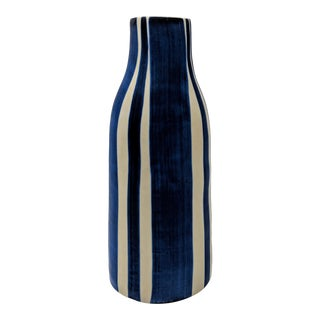 Thai Blue and White Striped Vase For Sale