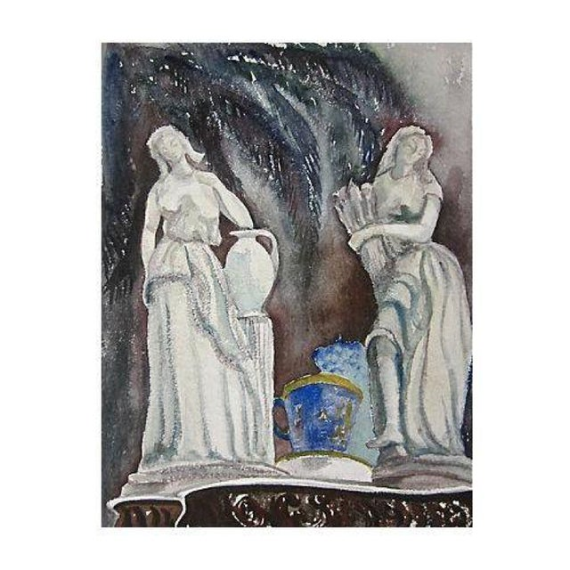 Mid-Century Italian Maidens Watercolor Painting For Sale