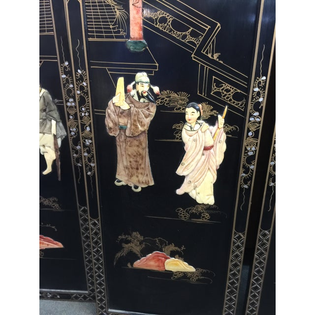 1950s Chinese Black Lacquer Hardstone Wall Panels Set of Four For Sale - Image 5 of 8