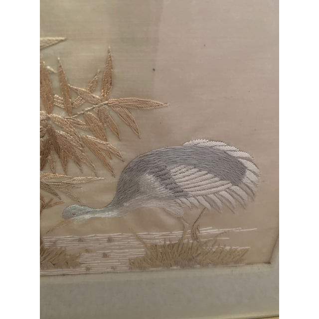 Japanese Antique Framed Fine Needlework of Herons -A Pair For Sale - Image 3 of 11