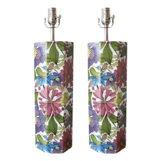 Vintage Floral Table Lamps - A Pair