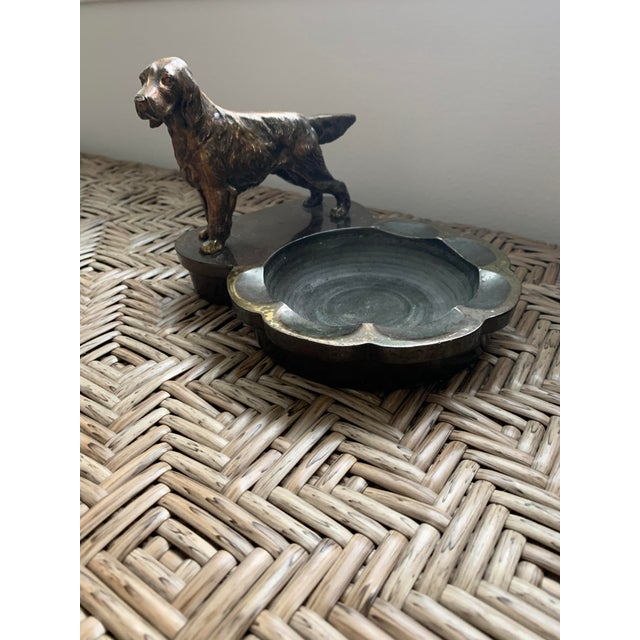 Heavy Cast Metalware Brass Spaniel Dog Ashtray Philadelphia Manufacturing Co. For Sale - Image 4 of 4