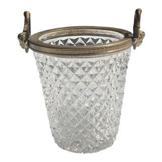 Cut Crystal Bucket Shaped Vase For Sale