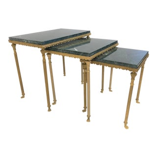 Louis XIV Style Bronze & Marble Nesting Tables For Sale