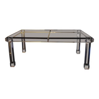 Vintage Lucite and Glass Dining Table For Sale