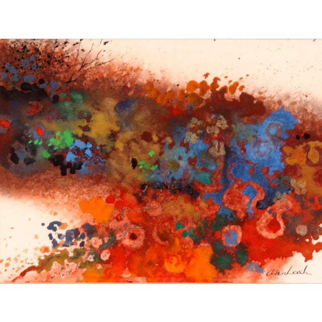 Various colors submerge together to create a stunning abstract painting by Ann Leech. Signed lower right. Ann Leech...