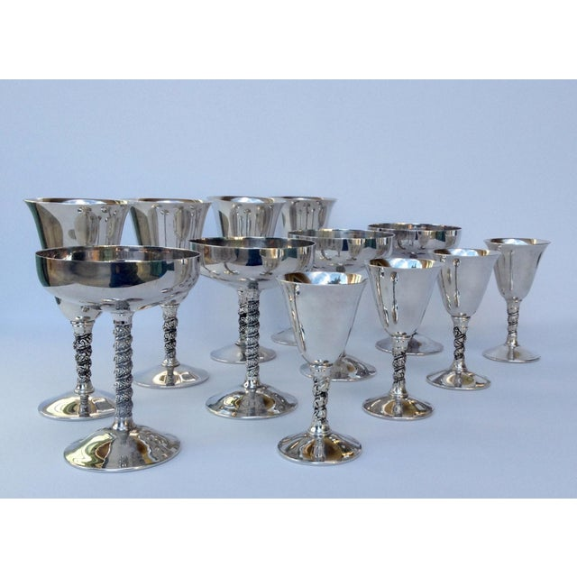 "Vintage; c.1930-50s, silver plate, Spanish Valerio, ""Grape-Vine,"" motif, set of 12 service ware, glasses A combination of..."