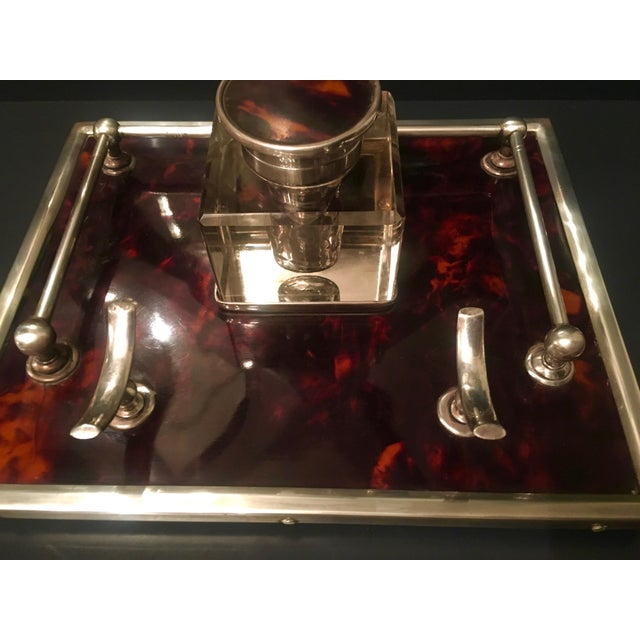 Mid-Century Modern Red Tortoise & Sterling Silver Ink Well For Sale - Image 3 of 6