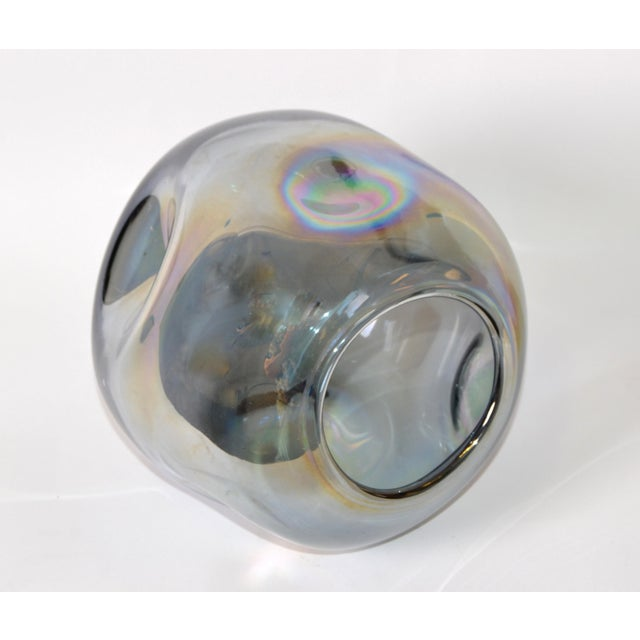 1980s Blown Smoked Glass Vase Mid-Century Modern With Mirror Coating & Round Indents For Sale - Image 5 of 13